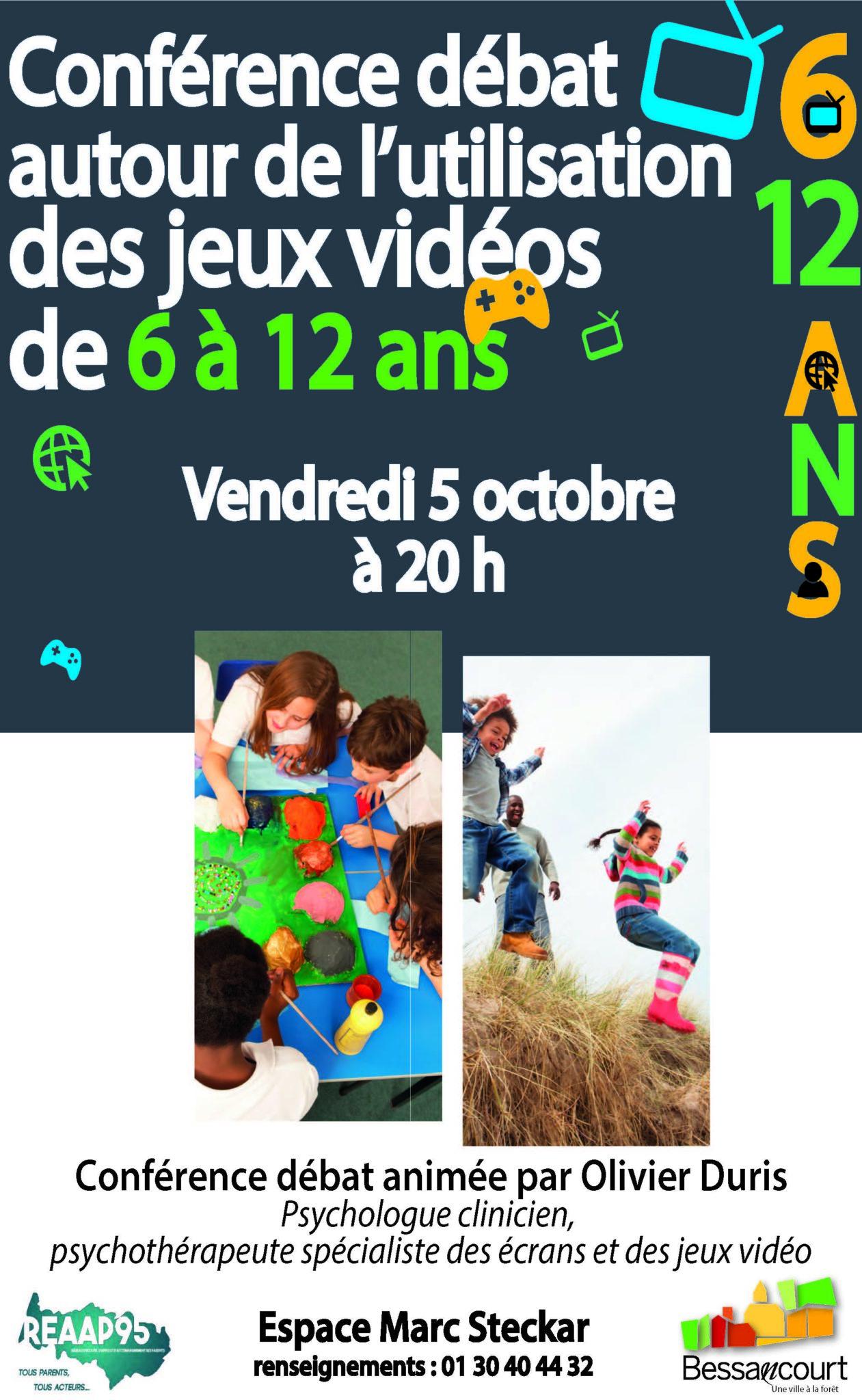 Vendredi 5 octobre à 20h Conférence-débat animée par Olivier DURIS,  psychologue clinicien, psychothérapeute spécialiste des jeux vidéos et des  écrans Espace ... 922b4e4ee4b